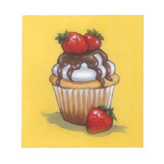 Cupcake Painting, Chocolate, Strawberries, Art Notepad