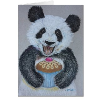 Cupcake Panda Birthday Card