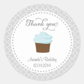 Cupcake Party Birthday Thank You Sticker