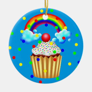 Cupcake Party with Rainbow & Sprinkles Christmas Ornament