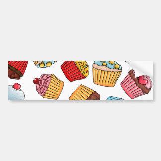 Cupcake Pattern Bumper Sticker