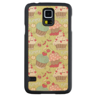 Cupcake pattern carved maple galaxy s5 case