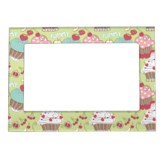 Cupcake pattern magnetic photo frames