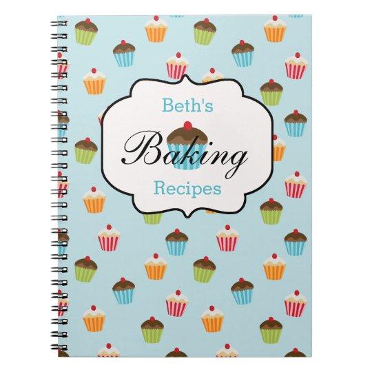 Cupcake Personalised Baking Recipe Notebook