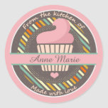 Cupcake Personalised Made With Love Round Sticker