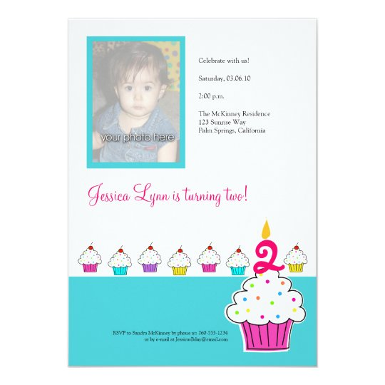 Cupcake Photo Invitation, Birthday Party Card