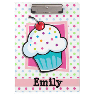 Cupcake, Pink, Blue, Green, Polka Dots Clipboard