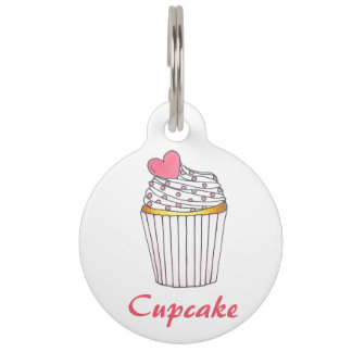 Cupcake Pink Heart Cake Personalized Pet Dog Tag