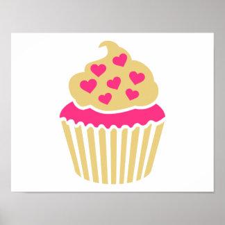 Cupcake pink hearts poster