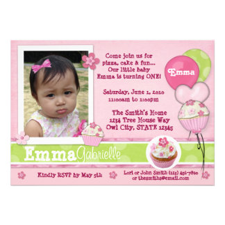 Cupcake Pink Invitation ADORABLE photo