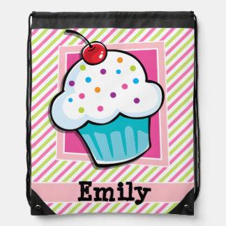 Cupcake; Pink & Lime Green Stripes Drawstring Backpacks