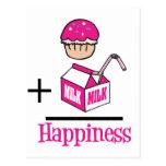 Cupcake Plus Milk Happiness Postcard