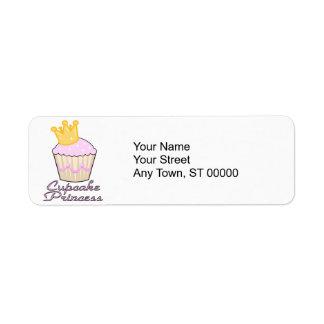 cupcake princess return address label