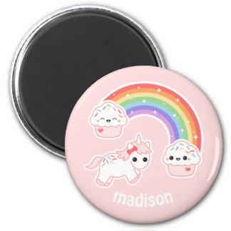 Cupcake Rainbow Unicorn Magnet