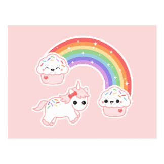 Cupcake Rainbow Unicorn Postcard