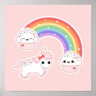 Cupcake Rainbow Unicorn Poster