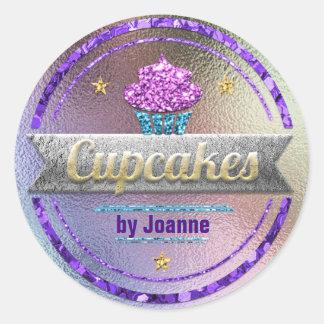 Cupcake Sales Shiny Glitter Classic Round Sticker