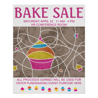 CUPCAKE shapes bake sale poster