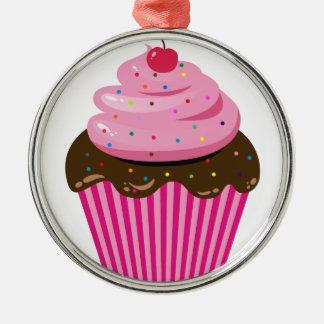 Cupcake Silver-Colored Round Decoration