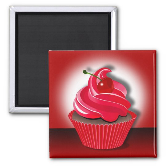 """Cupcake Spotlight"" by Cheryl Daniels Square Magnet"