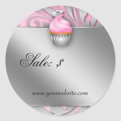 Cupcake Sticker Price Tag Crown Classy Pink Silver