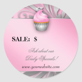 Cupcake Sticker Price Tag Crown Classy Silver Pink