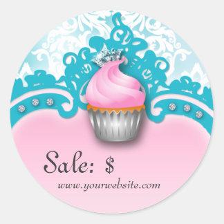 Cupcake Sticker Price Tag Crown Damask Blue Pink