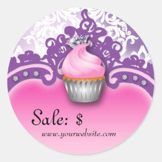 Cupcake Sticker Price Tag Crown Damask Pink Purple