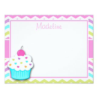 Cupcake Thank You Note, Cupcake Stationery 11 Cm X 14 Cm Invitation Card