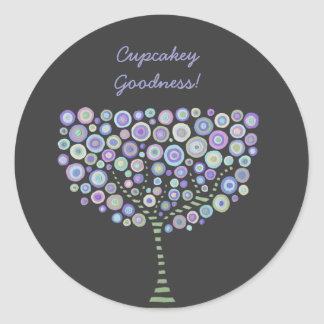 Cupcake Toppers Blue Retro Circle Tree Stickers