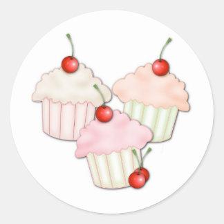 Cupcake Trio Classic Round Sticker