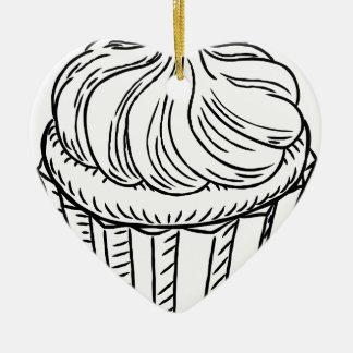 Cupcake Vintage Retro Woodcut Style Ceramic Heart Decoration