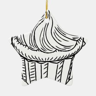 Cupcake Vintage Retro Woodcut Style Christmas Ornament