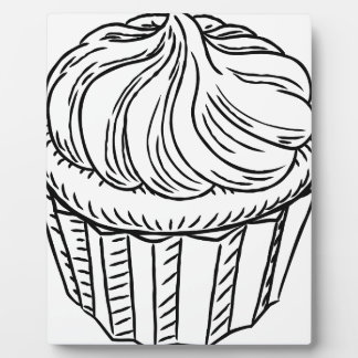 Cupcake Vintage Retro Woodcut Style Display Plaques