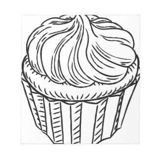 Cupcake Vintage Retro Woodcut Style Notepad