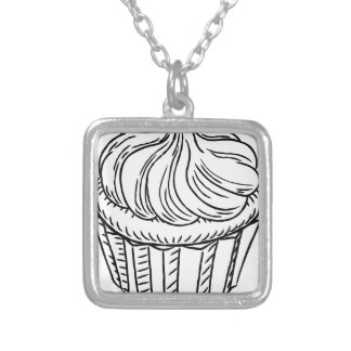 Cupcake Vintage Retro Woodcut Style Silver Plated Necklace