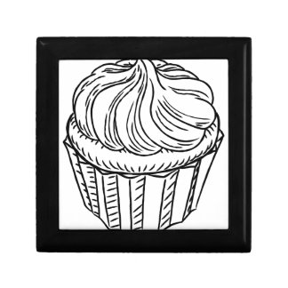 Cupcake Vintage Retro Woodcut Style Small Square Gift Box