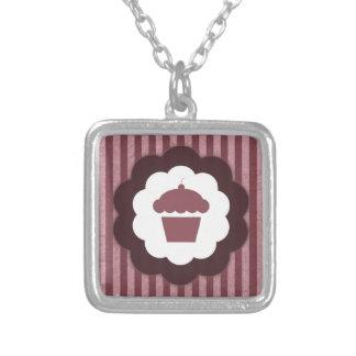 cupcake vintage square pendant necklace