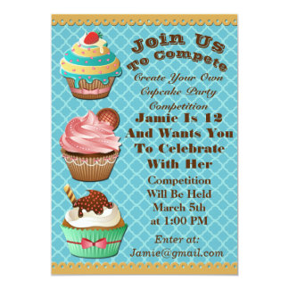 Cupcake Wars Bake Off Birthday Aqua Blue Invite
