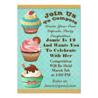 Cupcake Wars Bake Off Birthday Aqua Diamond Invite