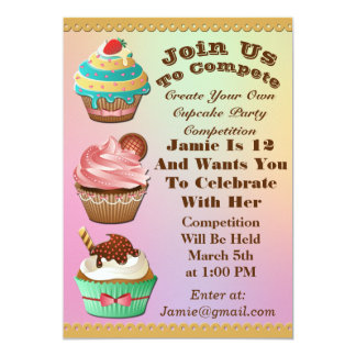 Cupcake Wars Bake Off Birthday Aurora Multi Invite