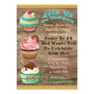 Cupcake Wars Bake Off Birthday Brown Wooden Invite