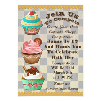 Cupcake Wars Bake Off Birthday Checkered Invite