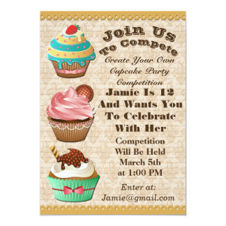 Cupcake Wars Bake Off Birthday Fleur De Lis Invite