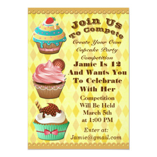 Cupcake Wars Bake Off Birthday Gold Diamond Invite