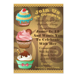 Cupcake Wars Bake Off Birthday Gold Swirl Invite