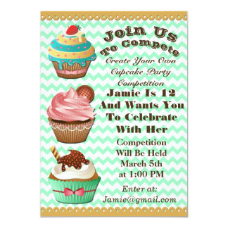 Cupcake Wars Bake Off Birthday Green Invite