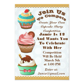 Cupcake Wars Bake Off Birthday Grey Circles Invite
