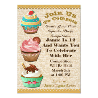 Cupcake Wars Bake Off Birthday Leave Swirl Invite