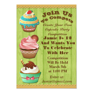 Cupcake Wars Bake Off Birthday Lime Wooden Invite